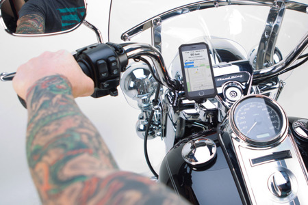 Polished Aluminum Motorcycle Handlebar Phone Mount