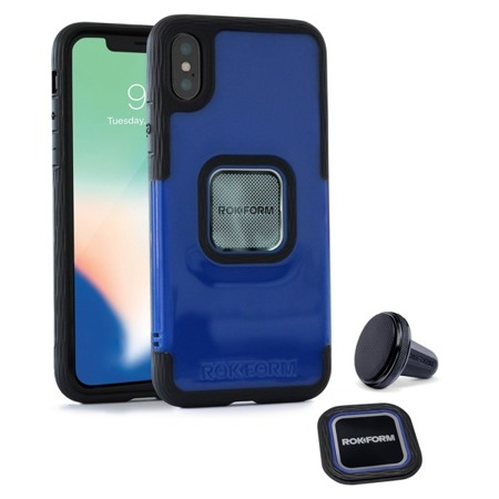 Die Hülle RokForm Socket + Magnethenkel für Apple iPhone X blau